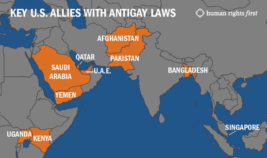 Key US Allies With Antigay Laws Even Worse Than Russias - World map of all us allies