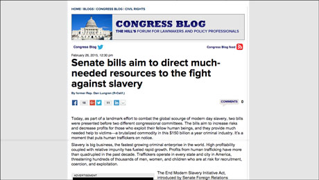 The Hill: White House Devotes More Funding to Fight Against Slavery, More Is Still Needed