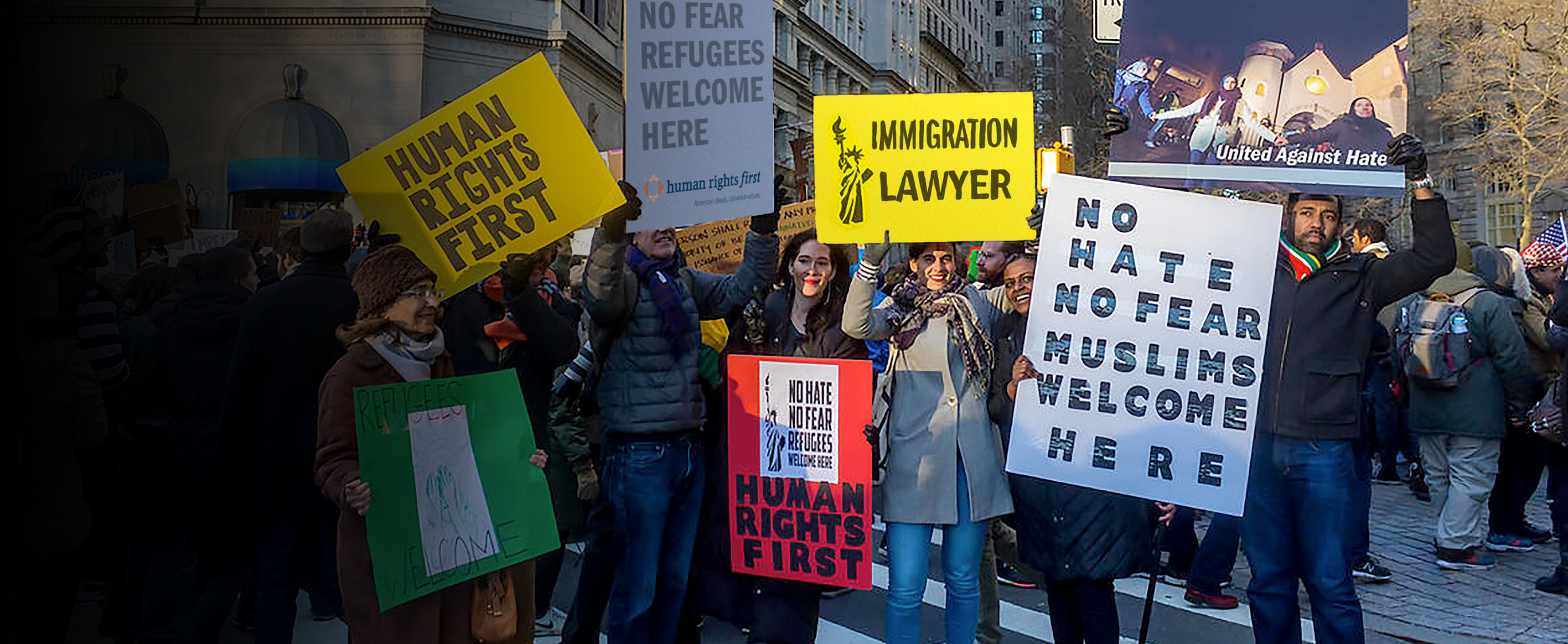 Human Rights First attorneys and staff protest Trump's ban on Muslim refugees