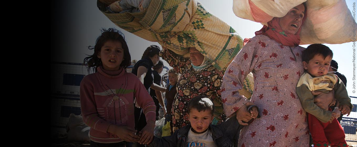 Syrian refugee family - Corbis photo