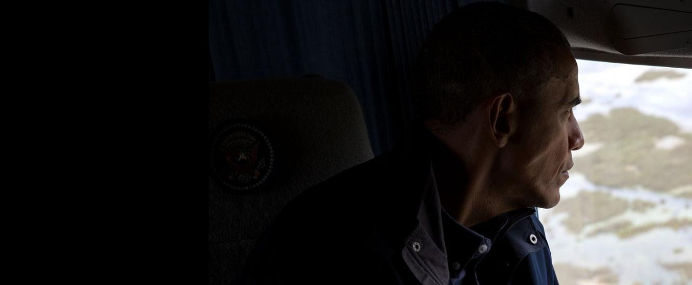 President Obama looking out window