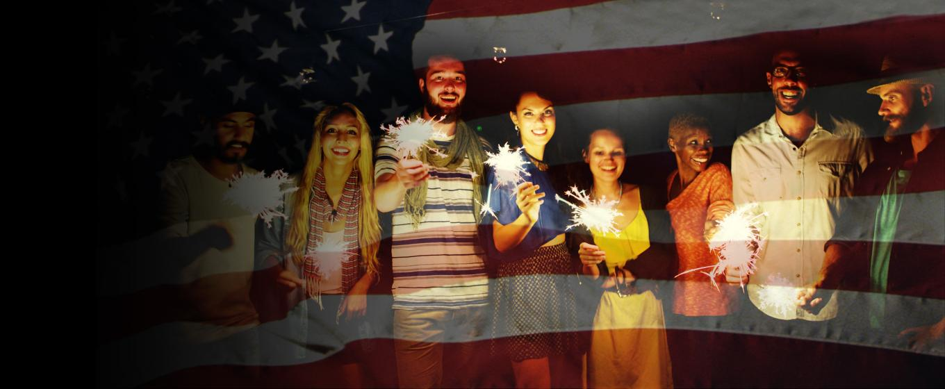 Immigrants celebrating their new lives as American citizens.
