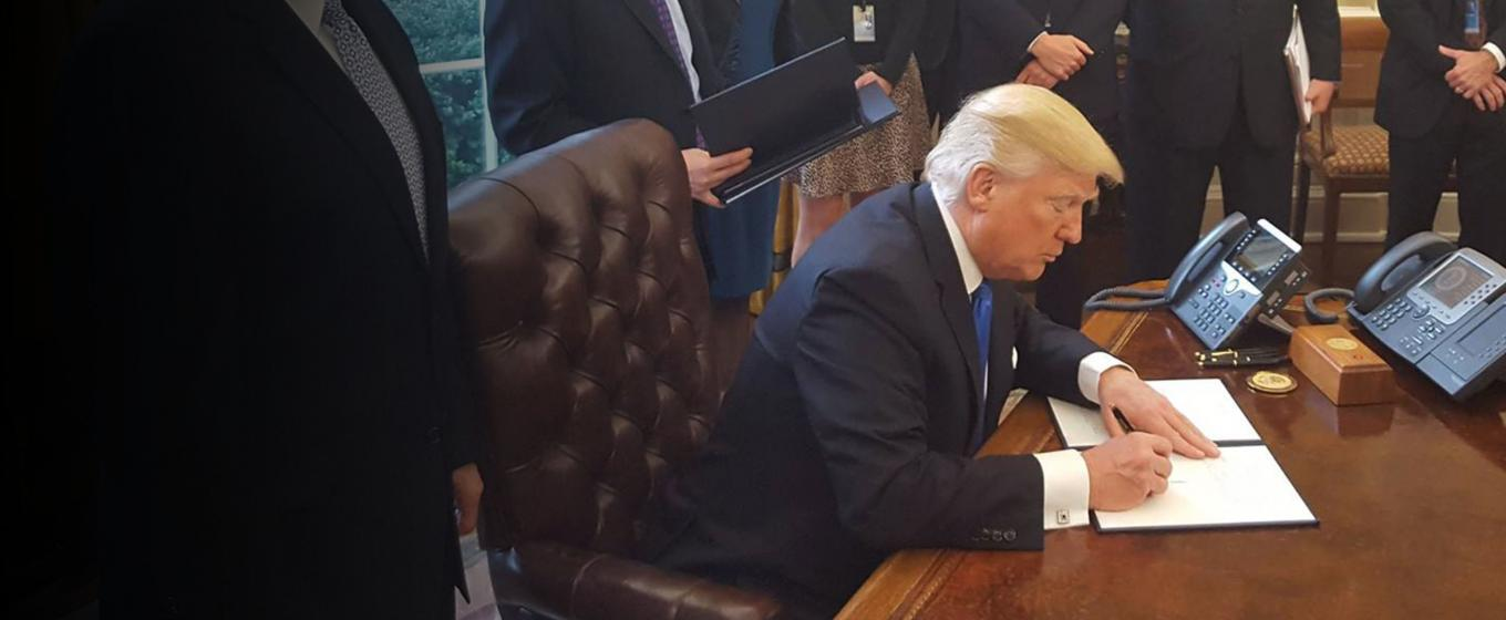 President Trump signing his executive orders